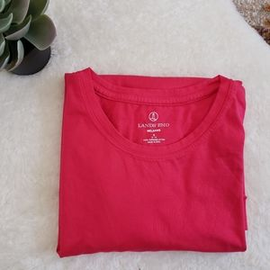 Land's End Relaxed Suprima Cotton Pink Top